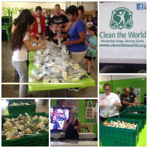 75+ volunteers helped Clean the World by assembling 4,900 hygiene kits for local nonprofits, including Harbor House as an act of kindness_2017